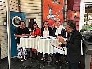 Olaug Bollestad, Hadja Tajik, Gunn Marit Helgesen og Lisbeth Normann. Aslak Bonde er debattleder.