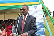 RNMUs forbundsleder Andre Gitembagara på lanseringen av